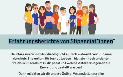 Neue Online-Veranstaltungsreihe: Erfahrungsberichte von Stipendiat*innen