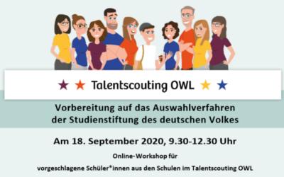 Vorbereitungs-Workshop für Auswahlverfahren der Studienstiftung am 18. September 2020
