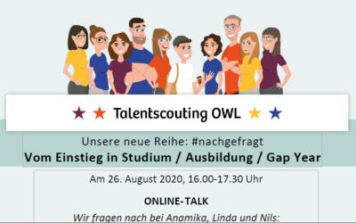 Am 26.08.2020: ONLINE TALK #nachgefragt – Vom Einstieg in Studium, Ausbildung und Gap Year